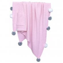 Плед Pompon розово-белый